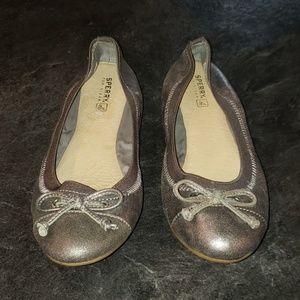 Sperry Elise pewter metallic ballet flats